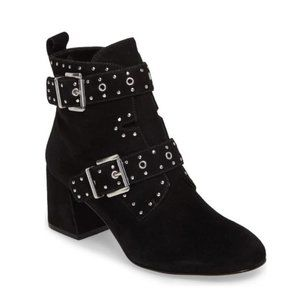REBECCA MINKOFF Black Suede Leather Studded Ankle